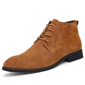 Junjarm Genuine Leather Men Ankle Boots Breathable Men Leather Boots High Top Shoes Outdoor Casual Brown / 6.5
