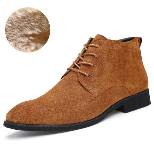 Junjarm Genuine Leather Men Ankle Boots Breathable Men Leather Boots High Top Shoes Outdoor Casual Brown With Fur / 6.5