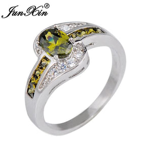 JUNXIN Female Peridot Oval Ring Fashion White & Black Gold Filled Jewelry Vintage Wedding Rings For 10 / White Gold