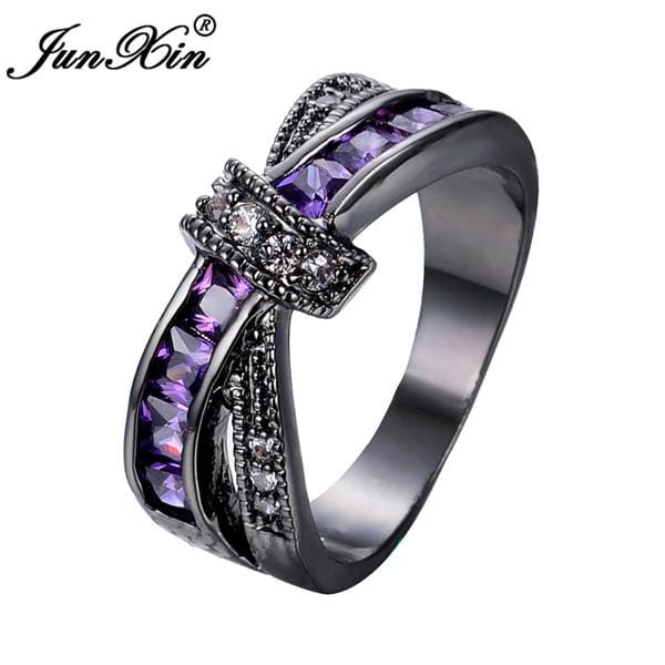 JUNXIN Female Purple Cross Ring Fashion White & Black Gold Filled Jewelry Vintage Wedding Rings For