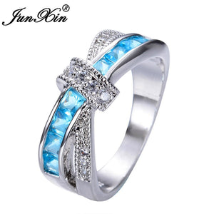 JUNXIN Light Blue Cross Ring Fashion White & Black Gold Filled Jewelry Vintage Wedding Rings For.