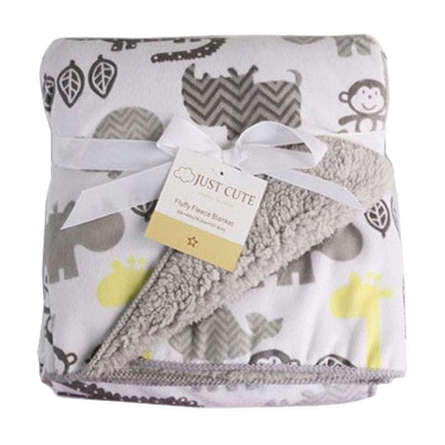 JUST CUTE plush baby blanket newborn baby swaddle stroller wrap Super Soft nap receiving blanket - MBMCITY