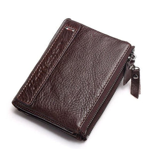 KAVIS 100% Genuine Leather Men Wallet Small Zipper Men Walet Portomonee Male Short Coin Purse Brand Red