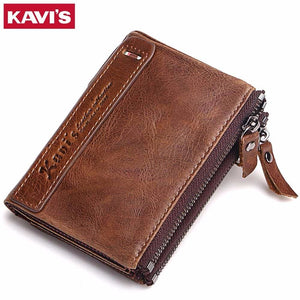KAVIS 100% Genuine Leather Men Wallet Small Zipper Men Walet Portomonee Male Short Coin Purse Brand