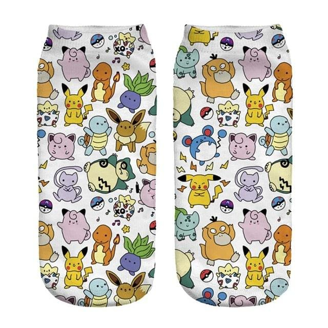 Kawaii Harajuku Pokemon Pikachu Socks 3D Printed Cartoon 14
