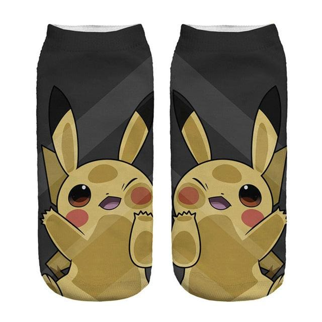 Kawaii Harajuku Pokemon Pikachu Socks 3D Printed Cartoon 8