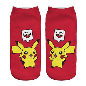 Kawaii Harajuku Pokemon Pikachu Socks 3D Printed Cartoon 4