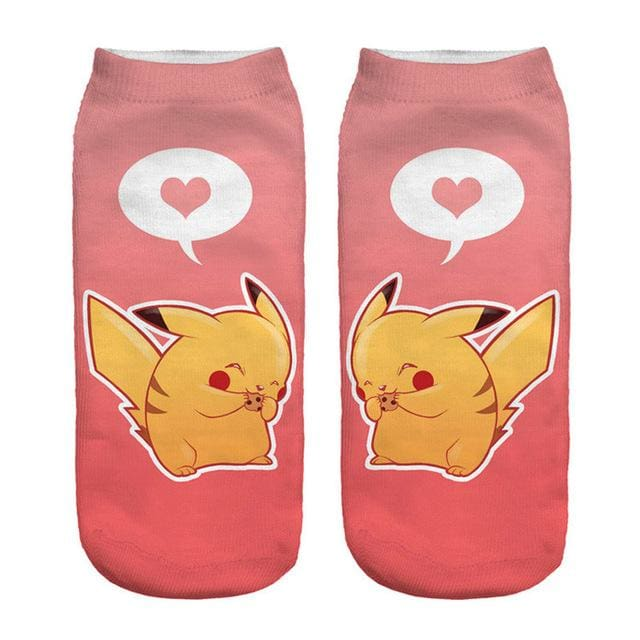 Kawaii Harajuku Pokemon Pikachu Socks 3D Printed Cartoon 5