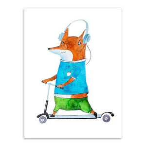 Kawaii Hippie Sports Animal Bear Rabbit Poster Prints Nordic Kids Boy Room Wall Art Pictures Home 15X20 Cm No Frame / Fox