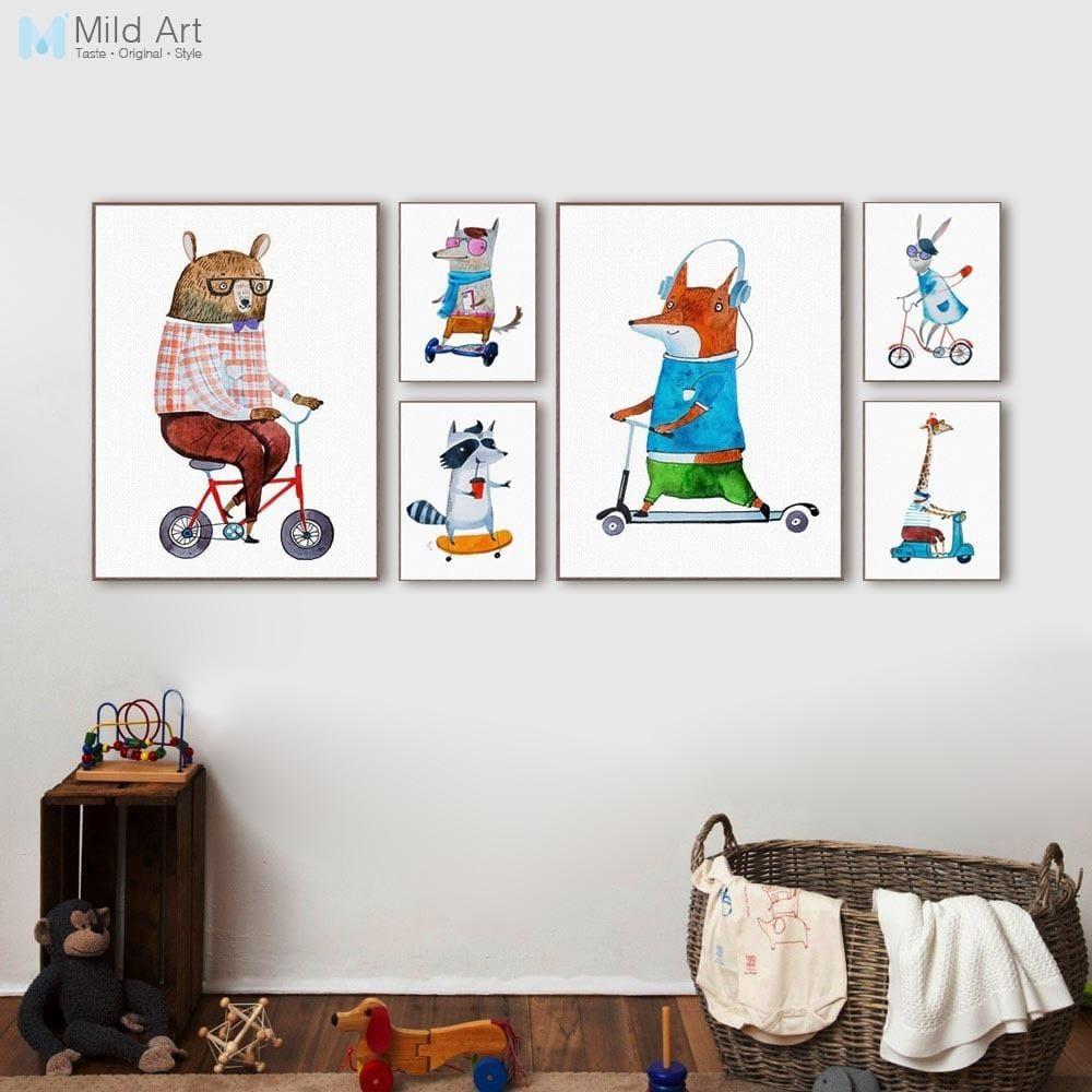 Kawaii Hippie Sports Animal Bear Rabbit Poster Prints Nordic Kids Boy Room Wall Art Pictures Home