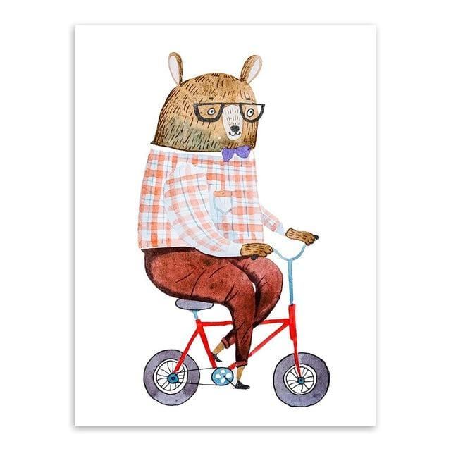 Kawaii Hippie Sports Animal Bear Rabbit Poster Prints Nordic Kids Boy Room Wall Art Pictures Home 15X20 Cm No Frame / Bear