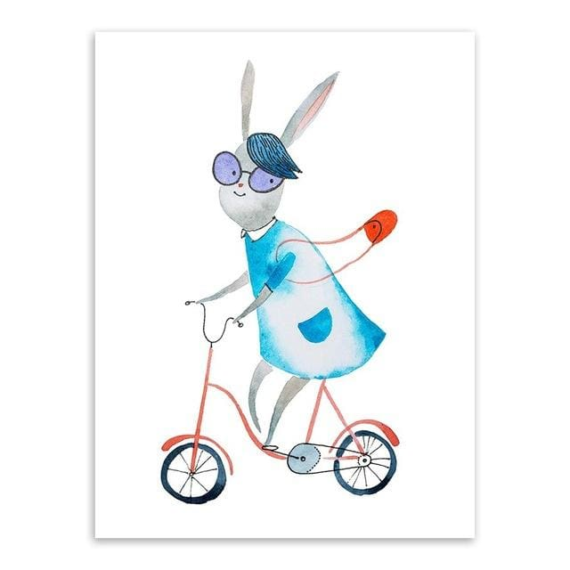 Kawaii Hippie Sports Animal Bear Rabbit Poster Prints Nordic Kids Boy Room Wall Art Pictures Home 15X20 Cm No Frame / Rabbit