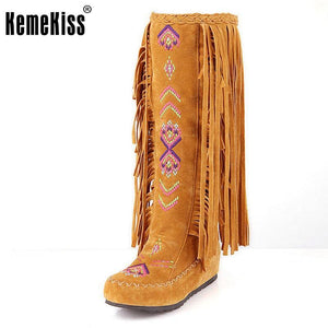 Kemekiss Fashion Chinese Nation Style Flock Leather Women Fringe Flat Heels Long Boots Woman Tassel