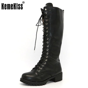 Kemekiss New Designer Womens Square Low Heel Riding Motorcycle Heel Knee High Boots Punk Gothic