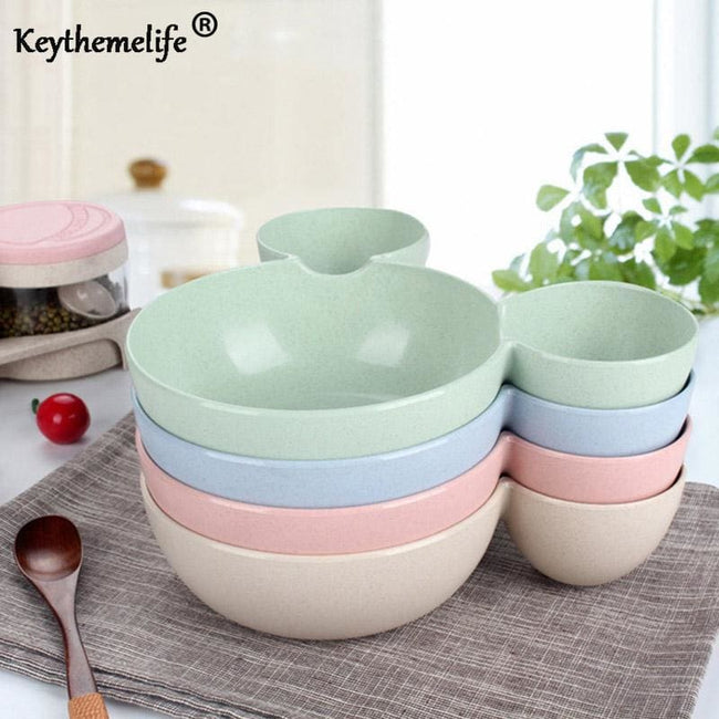 Keythemelife Children Baby Bowl Cute Dinner Tray Baby Dishes Fruit Plate Ear Style Children Feeding - MBMCITY