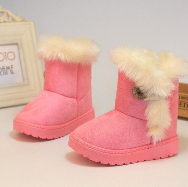 Kids Boots Winter Children Boots Thick Warm Shoes Cotton-Padded Suede Buckle Boys Girls Boots Boys Pink / 6
