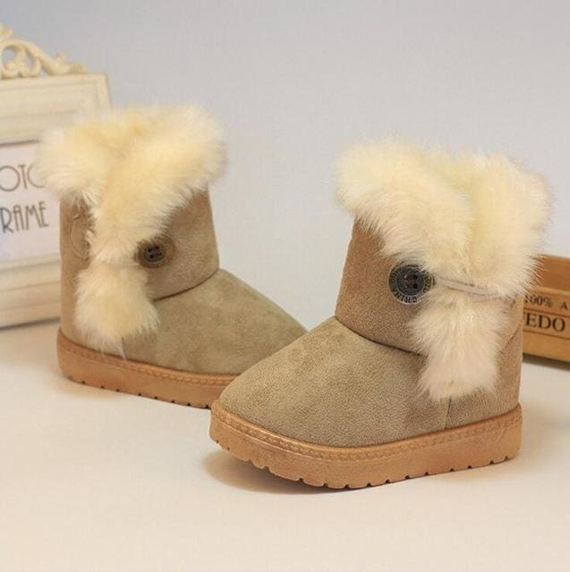 Kids Boots Winter Children Boots Thick Warm Shoes Cotton-Padded Suede Buckle Boys Girls Boots Boys Beige / 1