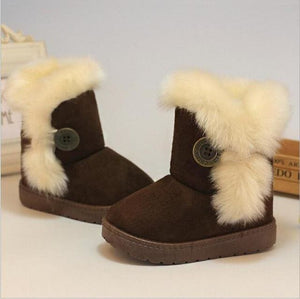Kids Boots Winter Children Boots Thick Warm Shoes Cotton-Padded Suede Buckle Boys Girls Boots Boys Brown / 1