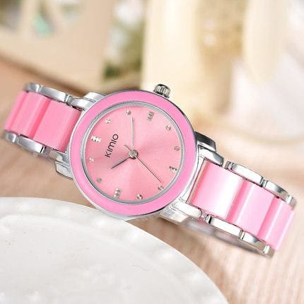 Kimio Luxury Fashion Womens Watches Quartz Watch Bracelet Wristwatches Stainless Steel Bracelet Pink