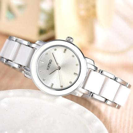 Kimio Luxury Fashion Womens Watches Quartz Watch Bracelet Wristwatches Stainless Steel Bracelet Silver