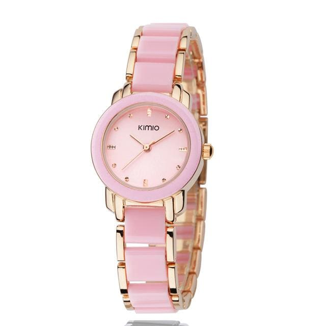 Kimio Luxury Fashion Womens Watches Quartz Watch Bracelet Wristwatches Stainless Steel Bracelet Gold Pink