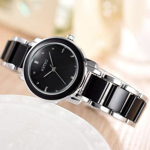 Kimio Luxury Fashion Womens Watches Quartz Watch Bracelet Wristwatches Stainless Steel Bracelet Black