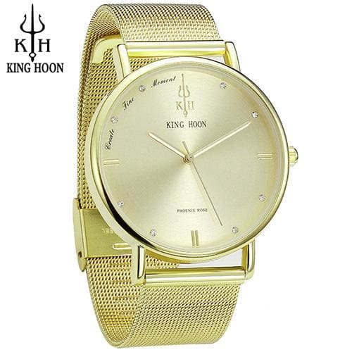 KING HOON Women Watches Ultra Thin Stainless Steel Quartz Wrist watch Bracelet Rhinestones watch STEEL GOLD