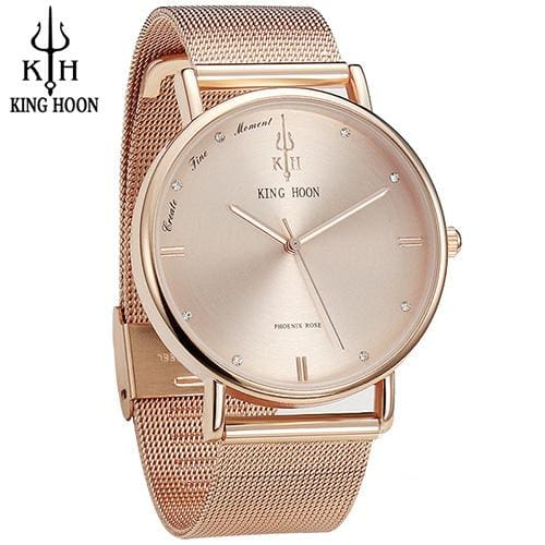 KING HOON Women Watches Ultra Thin Stainless Steel Quartz Wrist watch Bracelet Rhinestones watch STEEL ROSE