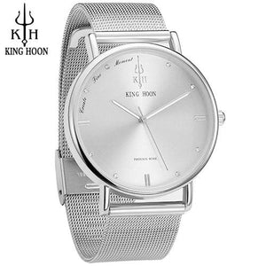 KING HOON Women Watches Ultra Thin Stainless Steel Quartz Wrist watch Bracelet Rhinestones watch STEEL SILVER