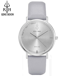 KING HOON Women Watches Ultra Thin Stainless Steel Quartz Wrist watch Bracelet Rhinestones watch GRAY SILVER
