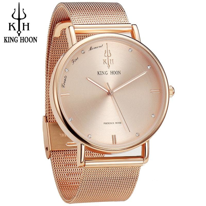 KING HOON Women Watches Ultra Thin Stainless Steel Quartz Wrist watch Bracelet Rhinestones watch