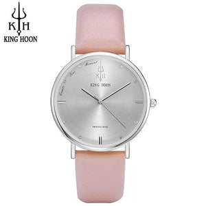 KING HOON Women Watches Ultra Thin Stainless Steel Quartz Wrist watch Bracelet Rhinestones watch PINK SILVER