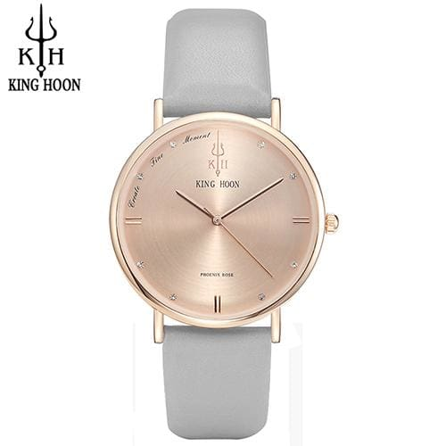 KING HOON Women Watches Ultra Thin Stainless Steel Quartz Wrist watch Bracelet Rhinestones watch GRAY ROSE