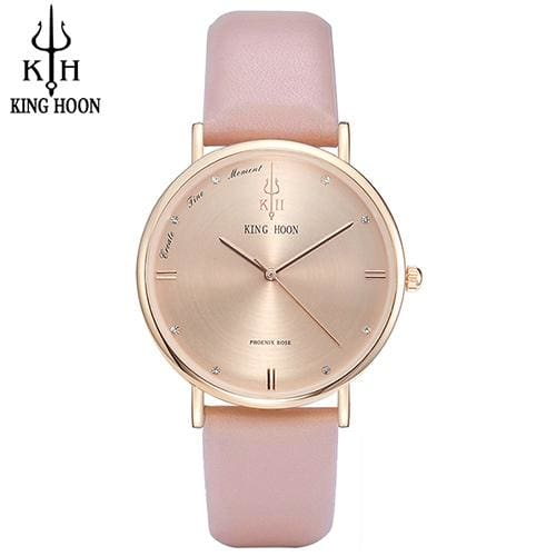 KING HOON Women Watches Ultra Thin Stainless Steel Quartz Wrist watch Bracelet Rhinestones watch PINK ROSE
