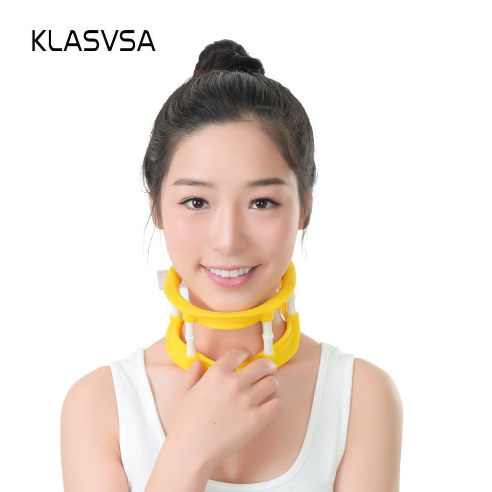KLASVSA Adjustable Silicone Cervical Traction Frame Neck Massager Vertebrae Stretching Support - MBMCITY