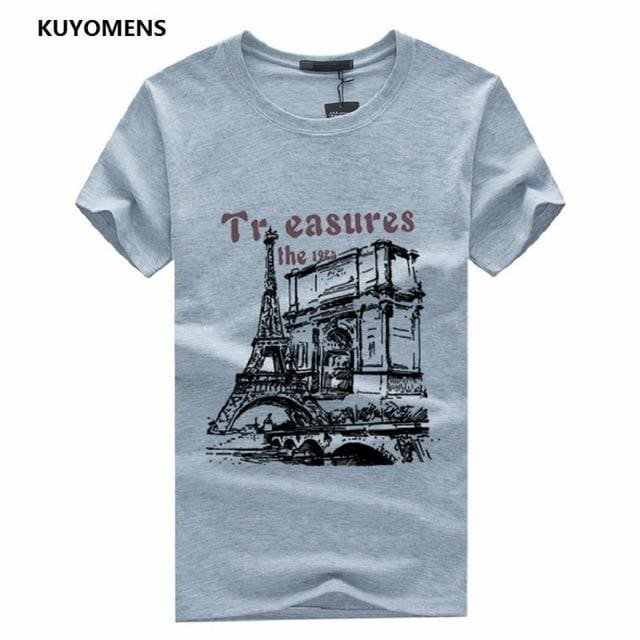 KUYOMENS Men t-shirt Plus Size Tee Shirt Homme Summer Short Sleeve Casual Mens T Shirts Male Gray / S