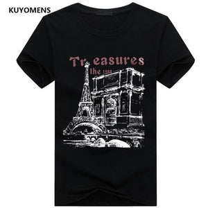 KUYOMENS Men t-shirt Plus Size Tee Shirt Homme Summer Short Sleeve Casual Mens T Shirts Male Black / S