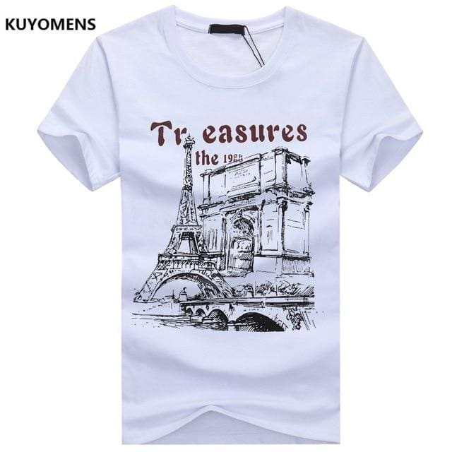 KUYOMENS Men t-shirt Plus Size Tee Shirt Homme Summer Short Sleeve Casual Mens T Shirts Male White / S