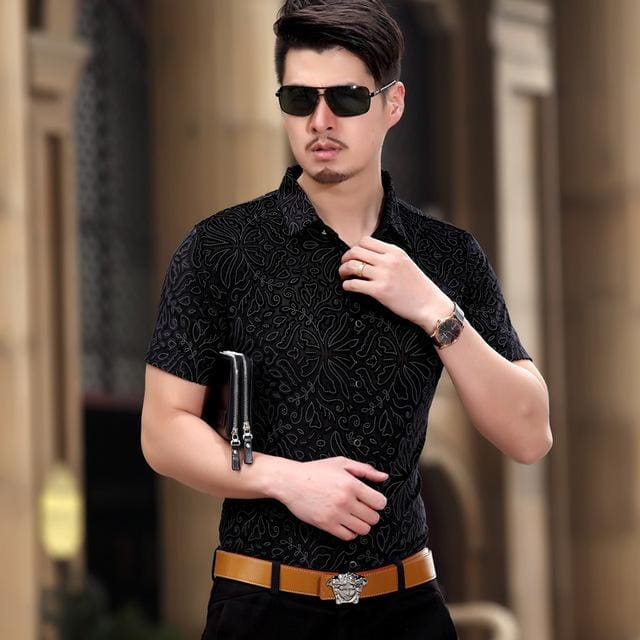 KUYOMENS Mens shirts Short Sleeve Summer Mens Dress Shirt Male Turndown Collar Slim Fit Camisa Black / S