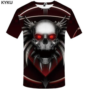 KYKU Brand Skull T shirt Blood Clothes Funny Clothing Hip-Hop Tees 3D Tops  T-shirt Men Short Sleeve