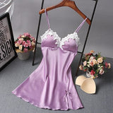 Ladies Sexy Nightdress Silk V-Neck Floral Sleepwear Lingerie Babydoll Nightgown Mini Sleeveless Purple / M