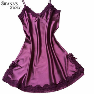 Ladies Sexy Silk Satin Night Dress Sleeveless Nighties V-neck Nightgown Solid Nightdress Lace Night - MBMCITY