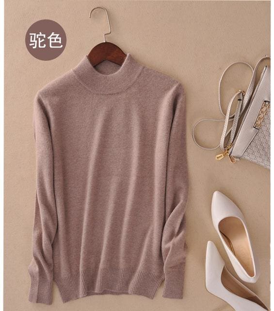 Lafarvie Fashion Cashmere Blended Knitted Sweater Women Tops Autumn Winter Turtleneck Pullovers - MBMCITY