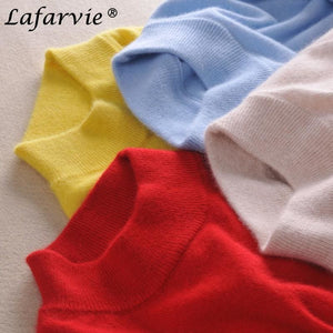 Lafarvie Fashion Cashmere Blended Knitted Sweater Women Tops Autumn Winter Turtleneck Pullovers