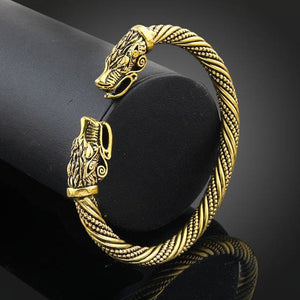 Lakone Teen Wolf Head Bracelet Indian Jewelry Fashion Accessories Viking Bracelet Men Wristband Cuff Antique Gold Plated