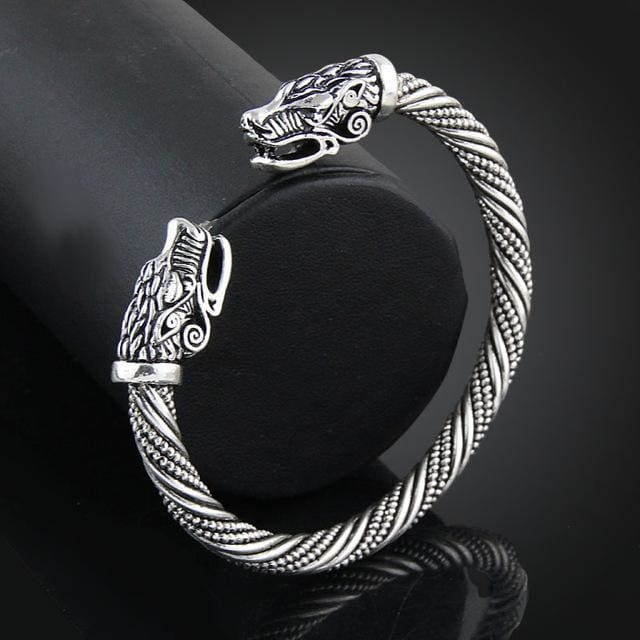 Lakone Teen Wolf Head Bracelet Indian Jewelry Fashion Accessories Viking Bracelet Men Wristband Cuff Antique Silver Plated
