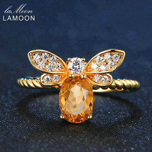 LAMOON Bee 5x7mm 1ct Natural Oval Citrine 925 Sterling Silver Jewelry Wedding Ring with 14K Gold