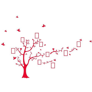 Large Size 200*260Cm Colorful Diy Photo Vinyl Wall Stickers Tree For Living Room Bedroom Mural Art Red