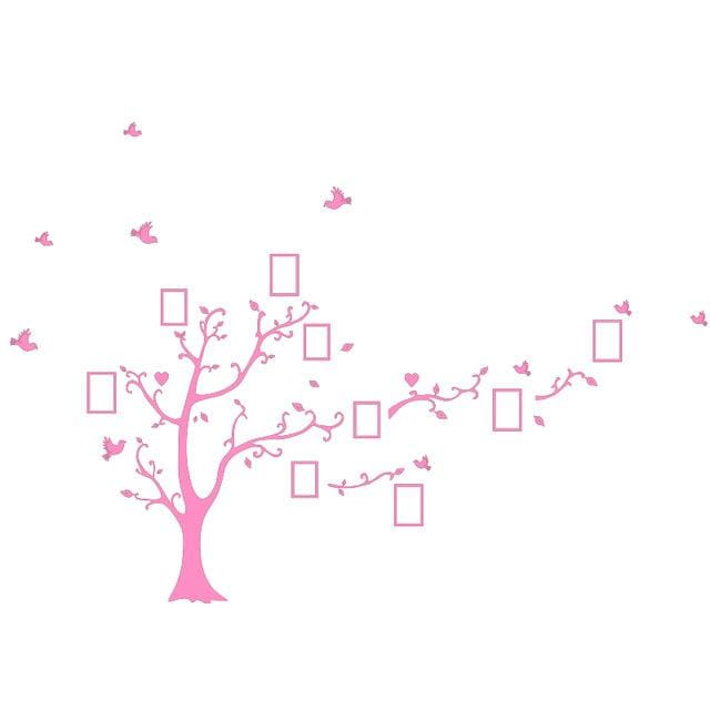 Large Size 200*260Cm Colorful Diy Photo Vinyl Wall Stickers Tree For Living Room Bedroom Mural Art Pink