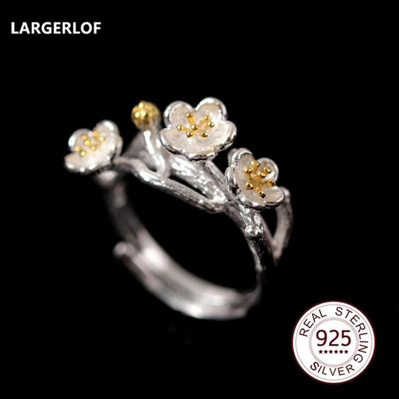 Largerlof Real 925 Sterling Silver Jewelry Rings For Women Fashion Women Jewelry Handmade Flower